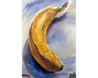 Banana (April 2014) original oil painting still life on canvas board