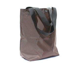 Brown Basic Market Tote made from 100% Nylon --durable, lightweight, water-resistant, washable.