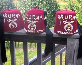 Qty of 2 Vintage Murat Shriners Hat Jewled Fez Tassled Masonic Hats (Indianapolis, Indiana)