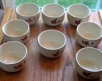 Qty of 1 Hall China Red Poppy Custard Bowls 1940 Era