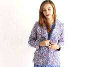 SALE jacket pastel paisley blazer . pink & periwinkle jacket, womens medium large