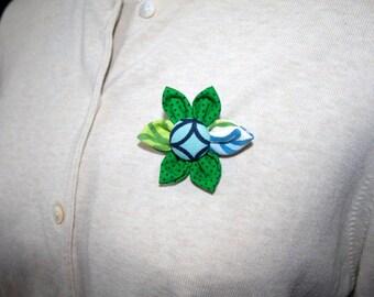 Green Fabric Flower Brooch, Flower Pin - Handmade Fabric Flower