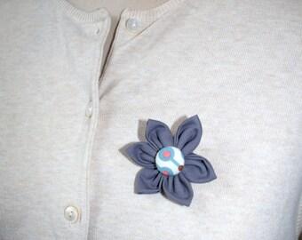 Grey Fabric Flower Brooch, Flower Pin - Handmade Fabric Flower