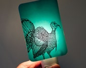 Thanksgiving Turkey Nightlight on Aqua Blue Fused Glass - Wild Turkey Holiday Night Light by Happy Owl Glass