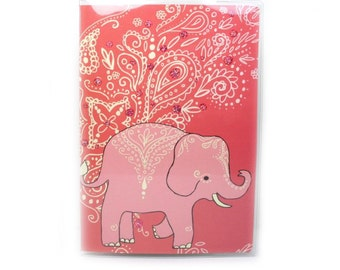 Elephant Passport Cover - peach and coral mehndi elephant passport holder - travel accessory