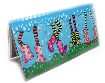 Checkbook Cover - Splish Splash - dancing legs in wellies - rain boots - galoshes - spring showers checkbook holder