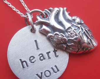 Anatomical I Heart You Necklace