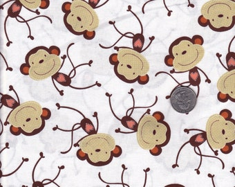 White Monkey Business Timeless Treasures  cotton quilt fabric - fat quarter