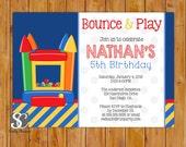Bounce House Birthday Party Invitation Printable Polka Dots Navy Blue Yellow Boys Theme Invite 5x7 JPG (114)