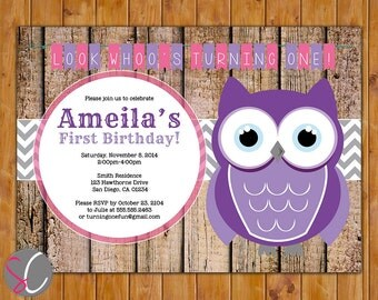Owl Look Whoo's Turning One First Birthday Party Invitation Printable Chevron Rustic Wood Owl Invite Purple Pink Owl Theme (319)