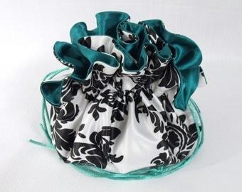 Wedding Bag  Satin Bridal Money Purse Black and White Damask with Emerald Green  No Pockets