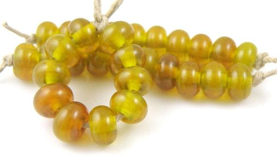 808 Swamp Moss Spacers - Handmade Artisan Lampwork Glass Beads - 5mmx9mm SRA (Set of 10 Spacer Beads)