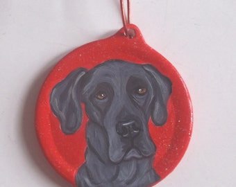 Blue Great Dane Dog Custom Painted Christmas Ornament Decoration