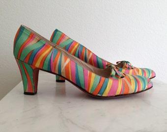 60s Psychedelic Saks Silk & Leather Shoes - Vintage Zebra Stripe Rainbow High Heels - Mod Mad Men - Fenton 9.5 AAAA