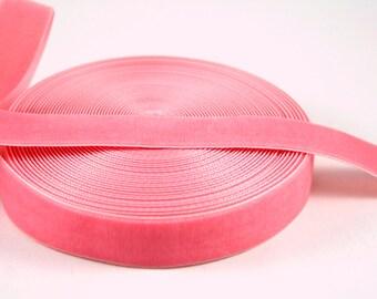 Medium Dusty Peach Pink  22 mm Polyester Velvet Ribbon- 1 Yard