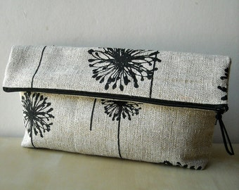 Black Denton Dandelion - Foldover Clutch Purse