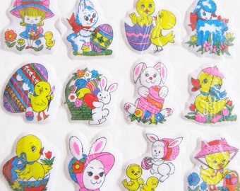 Vintage 80s Easter Puffy Stickers Sealed Package Bunny Egg Chick Lamb Taiwan
