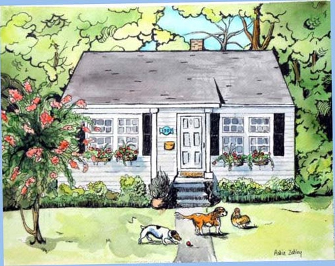 Custom House Portrait with Pets, Dogs and Chicken Portrait, 16 x 20. Watercolor Painting with Ink