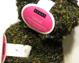 2 skeins Wool Cotton Yarn Circus Louet boucle Blue Harbor green blue yellow