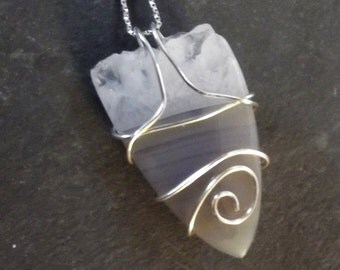 Wire Wrapped Gray Stone with Crystals Sterling Silver Wire Wrapped Necklace Artisan Wire Wrapped Pendant