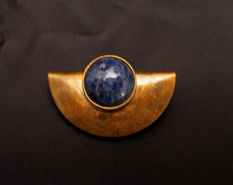 Handcrafted Oxidized Brass Half Circle Brooch with Semiprecious Stone Sodalite Cabochon
