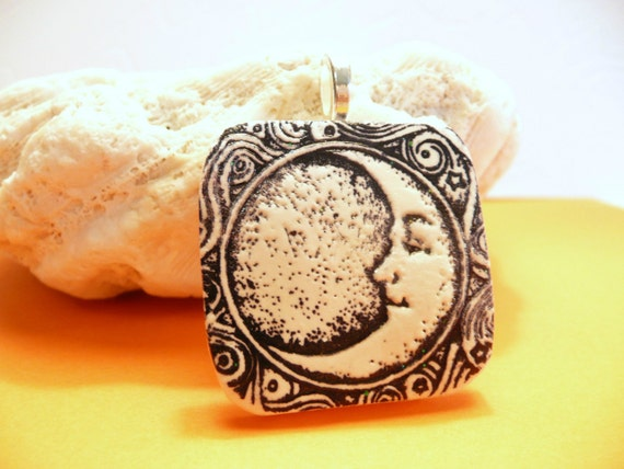 Crescent Moon Pendant, Optional Necklace, Moon and Stars, Black and White Moon Jewelry, handmade polymer clay artisan jewelry