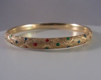 14k Gold Multicolor Criss Cross Bangle Bracelet