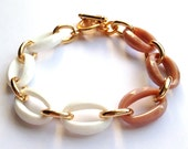 White, Beige Peach, and Gold Chain Faceted Stacking Bracelet Made with Vintage Links