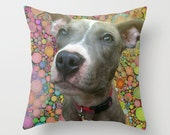 Custom Photo Pillow Cover, Citrus Bubble Background, Dog Lover Gift