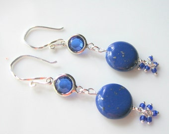 Lapis Lazuli Cluster Earrings, Lapis Coin Beads with Pyrite, Long Gemstone Fashion Earrings, Cobalt Blue, Gift for Her