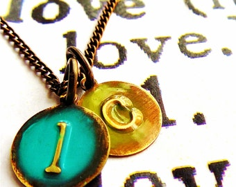Initial Initial Fun Gift Necklace, Disc Metal Charm Jewelry Turquoise And Moss Green, Small Letter Necklace Gift Personalized For Her