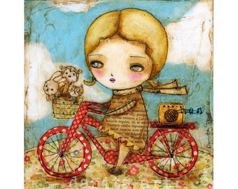 Summer Bike - Giclee Reproduction Of ALittle Girl Riding A Red Bicycle - Mixed Media Painting By Danita Art (Paper Prints and Wood Mounts)