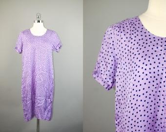 Vtg purple black polka dot handmade shift dress sz L