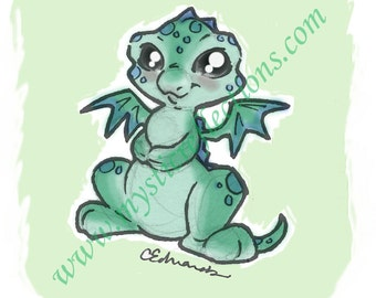 Blue Dragon Doodle Art Print