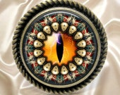 Orange Mandala Eye - Brass Ring with Decorative Edge - Adjustable Ring