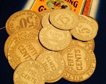 4pcs TOY PAPER COINS Antique Gorgeous Design