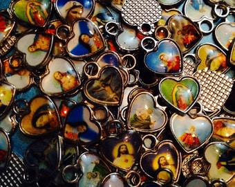 10pcs TINY RELIGIOUS CHARMS Resin Hearts Super Wee