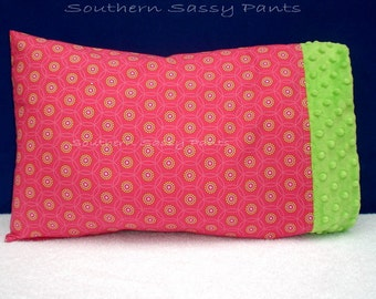Baby Girl Pillow Case - Toddler Pillowcase ONLY - Hot Pink Sunburst and Minky Pillow Case - ON SALE, In Stock and Ready To Ship