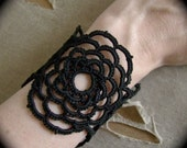 Tatted Lace Cuff Bracelet - Woven Rose