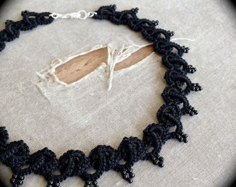 Tatted Lace Choker Necklace - Woven and Beaded