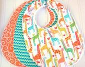 Baby Bibs Gender Neutral  -  Set of 3 Triple Layer Chenille  - Giraffe Love, Tangerine Swirly & Aqua Green Chevron