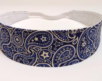 Headband Reversible Fabric  -  Blue & Cream Paisley Bandana  - Headbands for Women - PAISLEY BANDANA