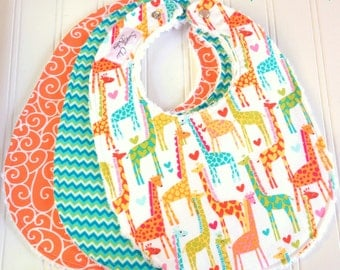 Baby Bibs Gender Neutral  -  Set of 3 Triple Layer Chenille  - Giraffe Love, Tangerine Swirly & Aqua Green Chevron