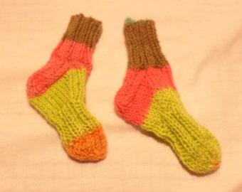 Striped Newborn Baby Socks - Washable Wool
