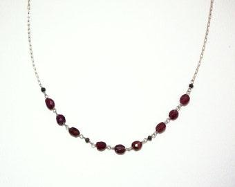 Umilia - Spinel, pyrite, and smoky quartz necklace
