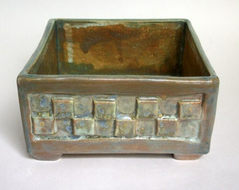 Square Planter Box with Squares and Feet - Square Textured Bonsai Planter - Ceramic Succulent Pot