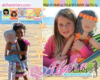 """NEW 36"""" Aloha Sisters cotton doll made in Hawaii"""