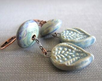 Ceramic Earrings, Copper Earrings, Lampwork Glass, Glass Earrings, Clay Earrings, Aqua Blue, Ceramic Leaves
