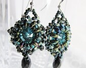 Turquoise and Black  Bead Woven Earrings with Swarovski Crystal