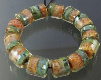 Lampwork Boro Beads Set of 13 Handmade Boro Borosilicate Glass Barrels Rolos Tubes StoneyMarie